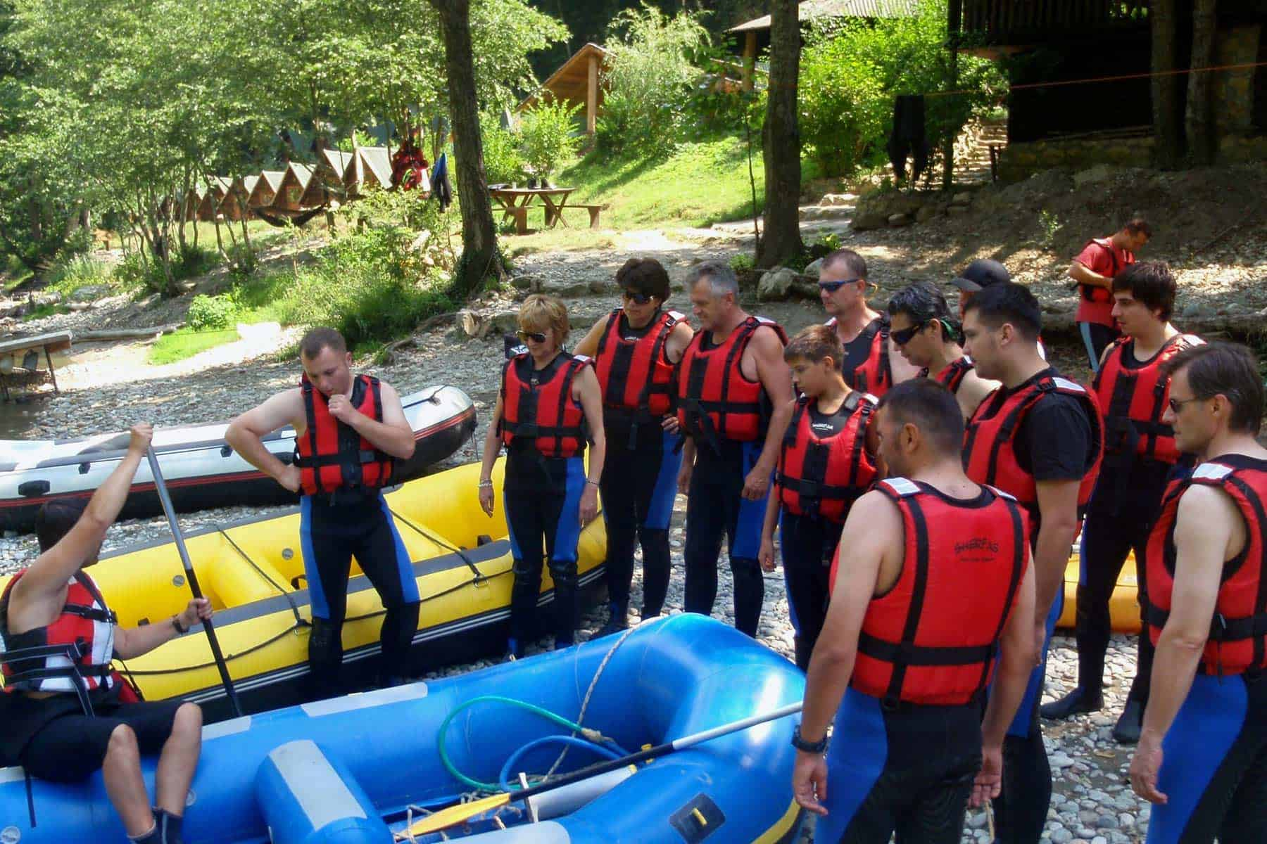 Preparation before rafting adventure begins