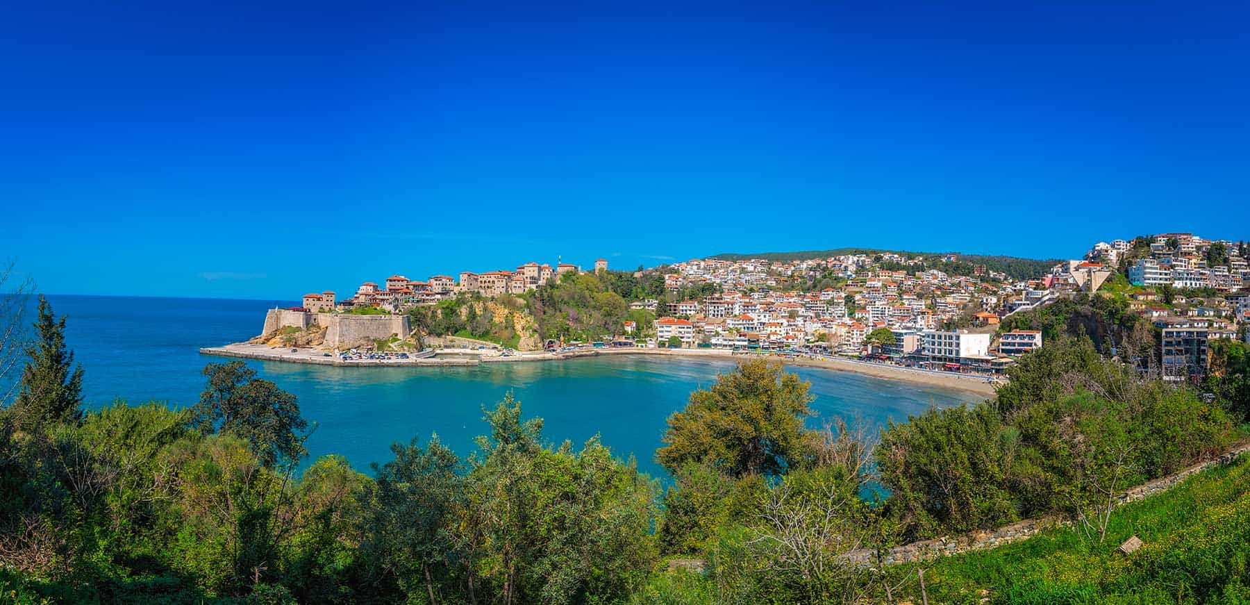 Panoramic view of the old town in Ulcinj